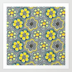Yellow Circle Flowers Art Print
