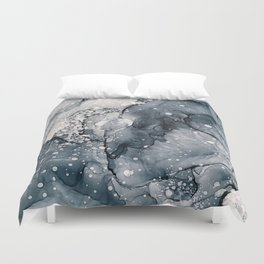 Icy Payne's Grey Abstract Bubble / Snow Painting Duvet Cover