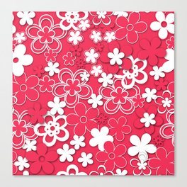 Red and white paper flowers 1 Canvas Print