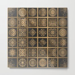 Copper Mandala Quilt Metal Print