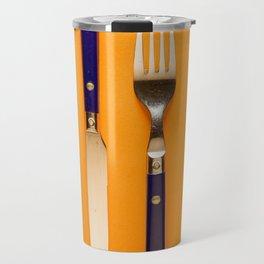 blue forks and knives on orange background Travel Mug