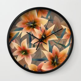 Orange lilies. Lily Wall Clock
