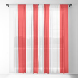 Large Red and White Stripes | Vertical Stripes | Sheer Curtain