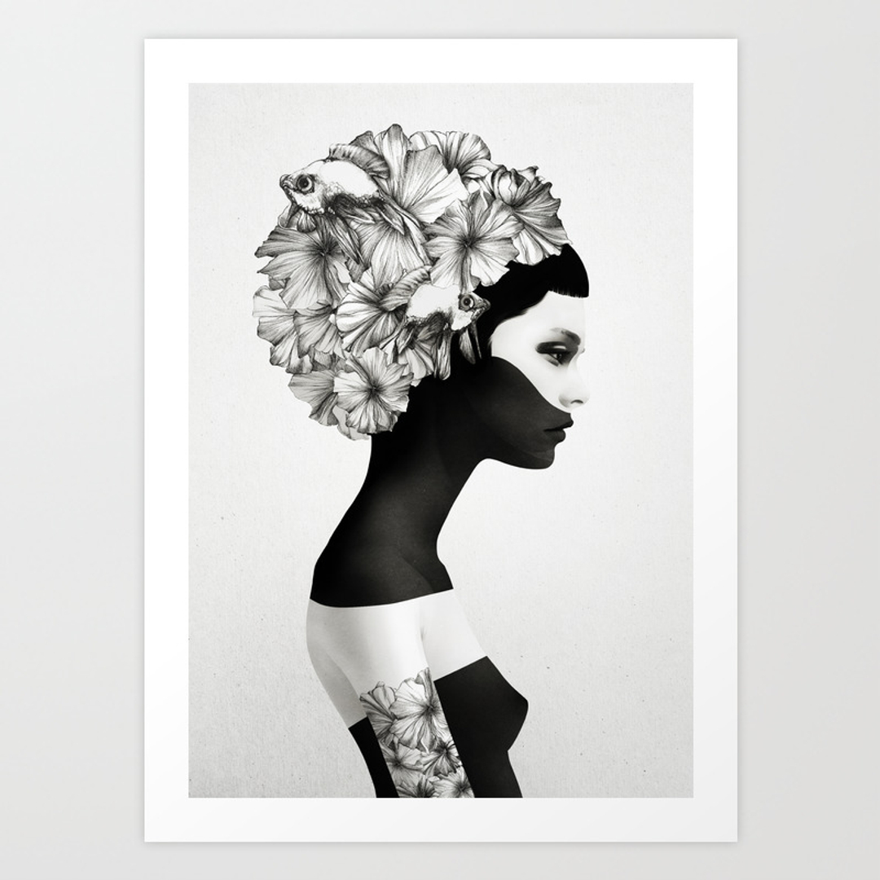 Black white art prints society6 for Black and white mural prints