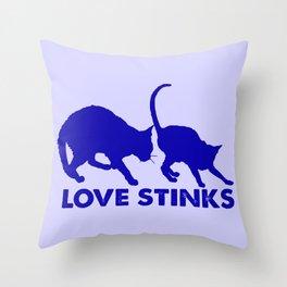 cat love stinks Throw Pillow
