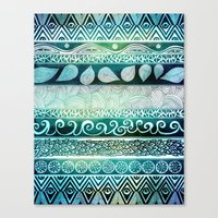 bamboo Canvas Prints featuring Dreamy Tribal Part VIII by Pom Graphic Design