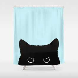 Black cat I Shower Curtain
