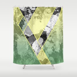 Contemporary Sunny Geometric Floral Pattern Shower Curtain