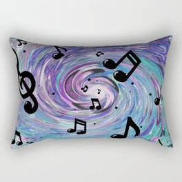 Musical Notes in Blue Rectangular Pillow