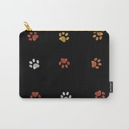 Orange, yellow and white doodle paw prints with black background Carry-All Pouch