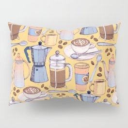 Coffee Love on Yellow Pillow Sham