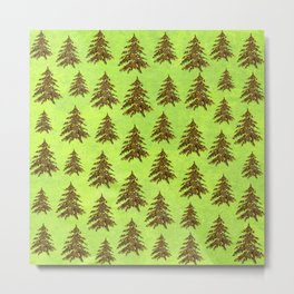 Sparkly Gold Christmas tree on abstract green paper Metal Print