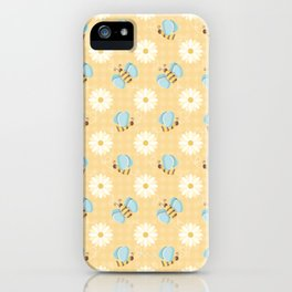 Cute Bees & Daises Pattern with Gingham Background iPhone Case