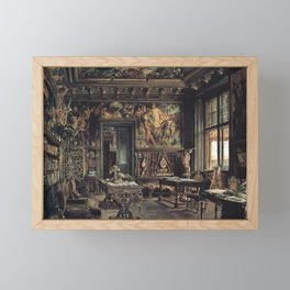 The Library In The Palais Dumba 1877 by Rudolf von Alt | Reproduction Framed Mini Art Print
