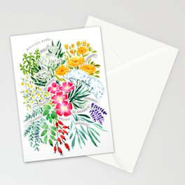 Watercolor medicinal herbs Stationery Cards