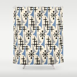 Mid Century Modern Atomic Wing Composition Blue & Grey Shower Curtain