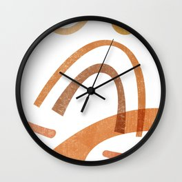 Terracotta Art Print 8 - Terracotta Abstract - Modern, Minimal, Contemporary Print - Abstract Shapes Wall Clock