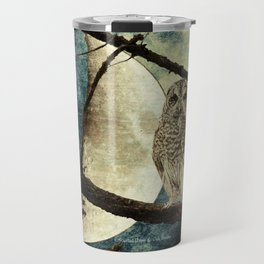 Barred Owl Bird Night Moon Blue Tans Country Art A137 Travel Mug