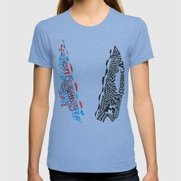 Letter V, Black/Red/Blue Abstract (Ink Drawing) T-shirt