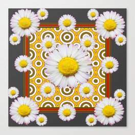 Charcoal Grey White Shasta  Daisy Patterns Brown Art Canvas Print