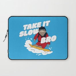 Take it Slow Bro - Funny Snowboarding Sloth Laptop Sleeve