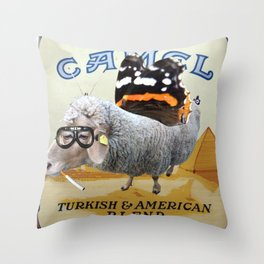 Sheep smoking... Throw Pillow