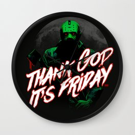 Thank God it's Friday in green Wall Clock