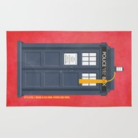 fez Area & Throw Rugs featuring 11th Doctor - DOCTOR WHO by LindseyCowley
