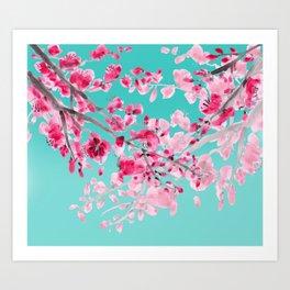 Cherry Blossom Aqua Art Print