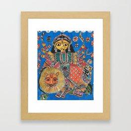 Madhubani - Blue Durga Framed Art Print
