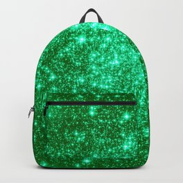 Emerald Green Glitter Stars Backpack