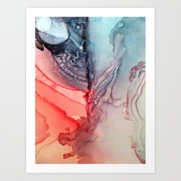 Undertow Meets Lava- Alcohol Ink Painting Art Print