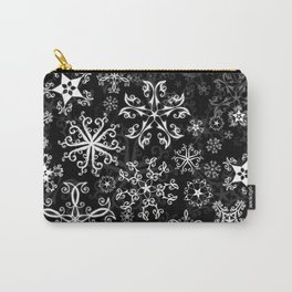 Symbols in Snowflakes on Black Carry-All Pouch