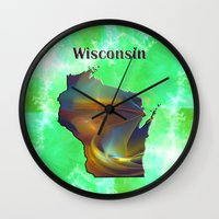 wisconsin Wall Clocks featuring Wisconsin Map by Roger Wedegis
