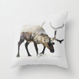 Arctic Reindeer Throw Pillow