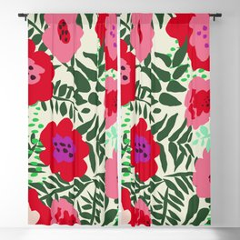 color matters: happy florals in pink light backround Blackout Curtain