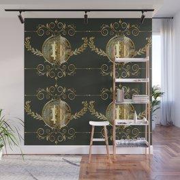 Bitcoin coin golden pattern Wall Mural