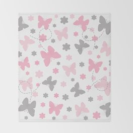 Pink and Grey Gray Butterfly Flower Throw Blanket