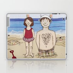 Embroidered Father and Daughter Beach Illustration Laptop & iPad Skin