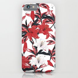 Red & White Lilys iPhone Case