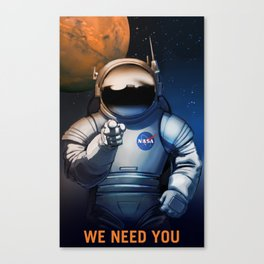MARS ASTRONAUTS WANTED, NASA POSTER Canvas Print