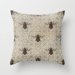 Bumble Bee  on sacred geometry pattern Throw Pillow