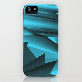 Strange gentle landscap with stylised mountains, sea and light blue Sun. iPhone Case