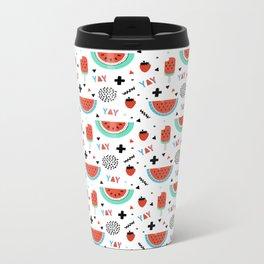 Modern red green black watermelon geometrical typography pattern Metal Travel Mug