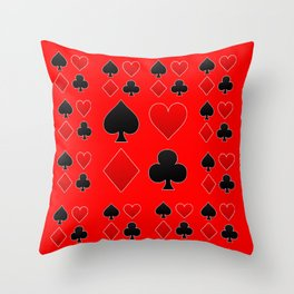 RED & BLACK PLAYING CARD ART ON RED Throw Pillow