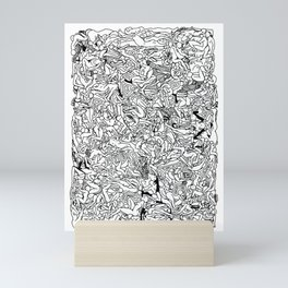 Lots of Bodies Doodle in Black and White Mini Art Print