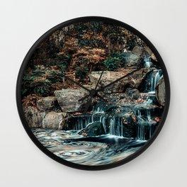 Kyoto Garden, London, Waterfall, Nature Landscape, Photography Wall Clock