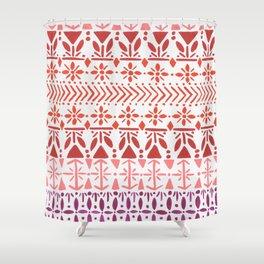 Norwegian Pattern – Reds & Corals Shower Curtain