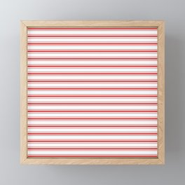 Mattress Ticking Wide Striped Pattern in Red and White Framed Mini Art Print