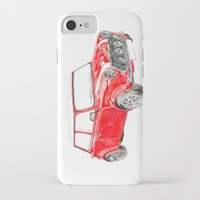 mini cooper iPhone & iPod Cases featuring Red Mini Cooper by Meg Ashford